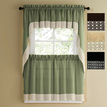 SALEM SOLID COLOR TIER CURTAIN and SWAG TOP WITH WHITE DAISY LACE TRIM - $27.71+