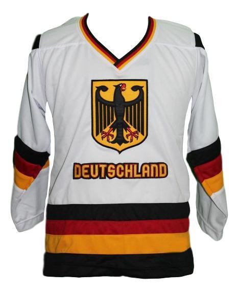 Team germany retro hockey jersey white   1