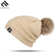 "Brand Women""S Winter Caps Hat Warm Pom Poms Hat For Women Girls Thick St... - $12.90"