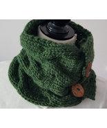 Green Cabled Neck Warmer, superwash bulky merino yarn, washable coconut ... - $35.00