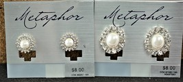 Metaphor Faux Pearl & Rhinestone Pierced Stud Earrings 2 Pair (1) - $15.02