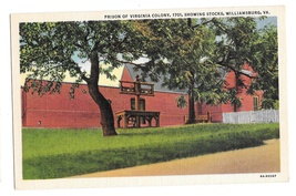 Williamsburg VA Virginia Colony Prison showing Stocks Vtg Linen Postcard - $4.99