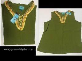 South Main Women's Blouse Top Tank Adult XXL, XL Cotton Crochet Olive Green - $8.99