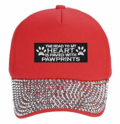 The Road To My Heart Is Paved With Pawprints Hat - Adjustable Women's Cap (Red S