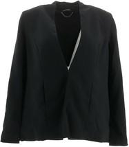 H Halston Stretch Suiting Cape Blazer Front Closure Black 10 NEW A301957 - $24.72