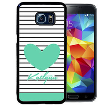 PERSONALIZED PHONE CASE FOR SAMSUNG NOTE 8 5 4 RUBBER COVER STRIPES TEAL... - $12.98