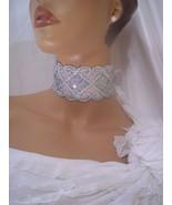 Silver Sequin & White Choker Necklace, Bridal Accessory, Prom Accessory,... - $12.99