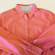 Tommy Hilfiger Womens Button Down Polo Shirt Size XL Salmon Pink Vintage Long - $23.76