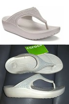 Crocs Sloane Diamante Platinum Platform  Bling Flip Flop Boat Beach Shoe Size 6 - $32.64