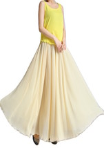 YELLOW High Waist Chiffon Maxi Skirt Women Flowing Long Wedding Bridesmaid Skirt