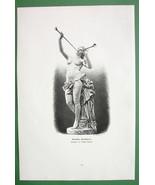 NUDE Greek Flute Player Sculpture - VICTORIAN Era Engraving Print - $13.46