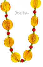 Art Glass Beaded Necklace  Fall Autumn Colors Butterscotch Candy  - $33.00