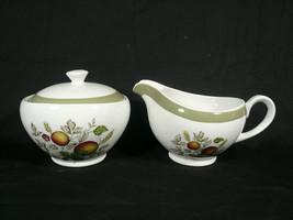 Alfred Meakin Hereford Creamer & Sugar Set with Lid Fruit Berries England - $9.00