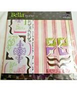 Scrapbook Page Kit BELLA Pattern Pink Green Girlfriends 12 x 12 Sheets - $12.95