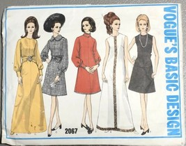 Vtg Vogue Dress Pattern 2067 Size 12 Bust 34 Line Peter Pan Collar Bisho... - $19.79