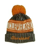 Cleveland Plush Lined Embroidered Winter Knit Pom Beanie Hat (Brown/Oran... - $15.15