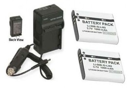 2 Batteries + Charger for Olympus STYLUS MJU Tough TG-610 6000 6010 6020 8000 - $26.09