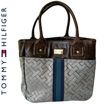 Tommy Hilfiger Bag Small Tote Logo Grey Blue Brown Minibag Faux Leather ... - $35.40