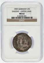 1909 ALLEMAGNE 2 Mark 2m Pièce argent saxony-leipzig univ. NGC Classé MS62 - $115.84