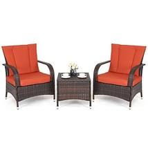 Aromdeeshopping Furniture Set Seat Cushioned Orange Outdoor Patio Mix Br... - €242,92 EUR