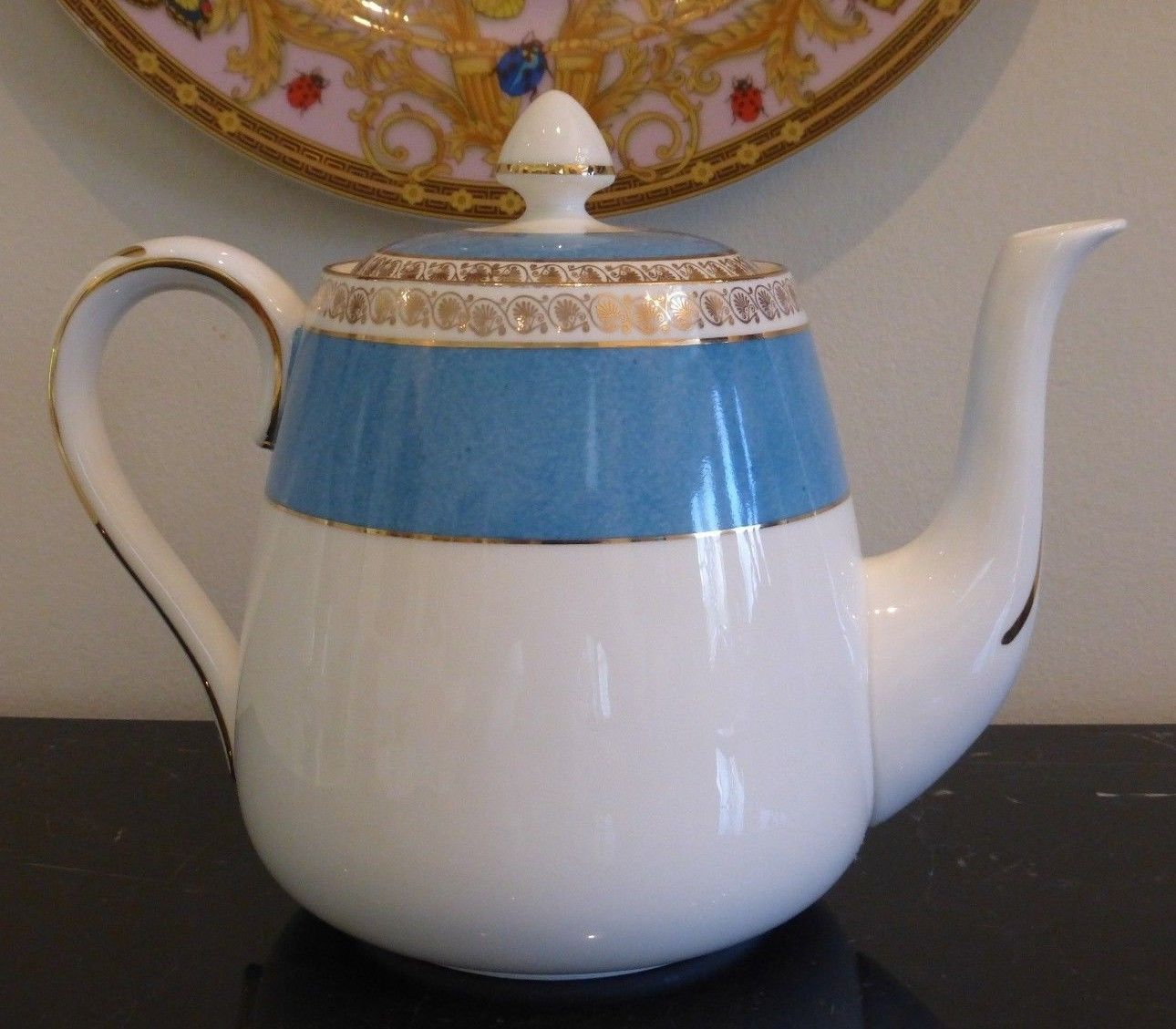 Primary image for ANTIQUE CROWN STAFFORDSHIRE TURQUOISE AND GOLD TEAPOT