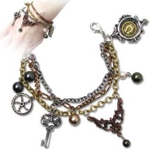 SteamPunk Cosplay Gothic Victorian Mrs. Hudson's Cellar Keys Pewter Brac... - $48.37