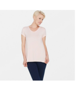 H by Halston Essentials V-Neck Top with Forward Notch Detail Pure Pink XL - $17.81