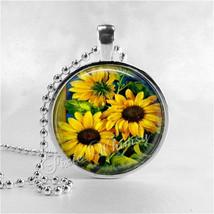 SUNFLOWER Pendant Necklace Jewelry, Sun Flower Charm, Vintage Antique Su... - €10,50 EUR