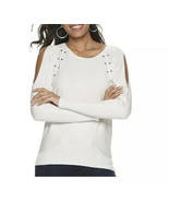 White Cold Shoulder Sweater Small Pullover Studded Jennifer Lopez Long S... - $24.50