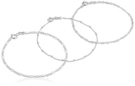 .925 Sterling Silver Figaro, Bead Station and Singapore Chain Bracelet Set size  - $35.99