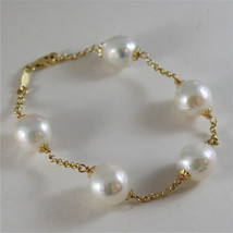 18K YELLOW GOLD BRACELET WITH VERY SHINY BAROQUE PEARLS 8.25 IN MADE IN ITALY image 1