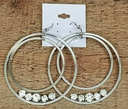 "Big Hoop Earrings Silver Tone Rhinestone Fashion Jewelry Fish Hook 2-1/4"" - $7.70"