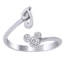 14k White Gold Plated Pure 925 Silver Diamond Disney Mickey Mouse Initial J Ring - $24.99