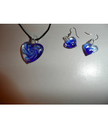 navy murano glass heart cord necklace and earing set - $7.00