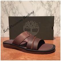Timberland Men's Originals Medium Brown Leather Slide Sandals 5343A. SZ:12 - $55.17