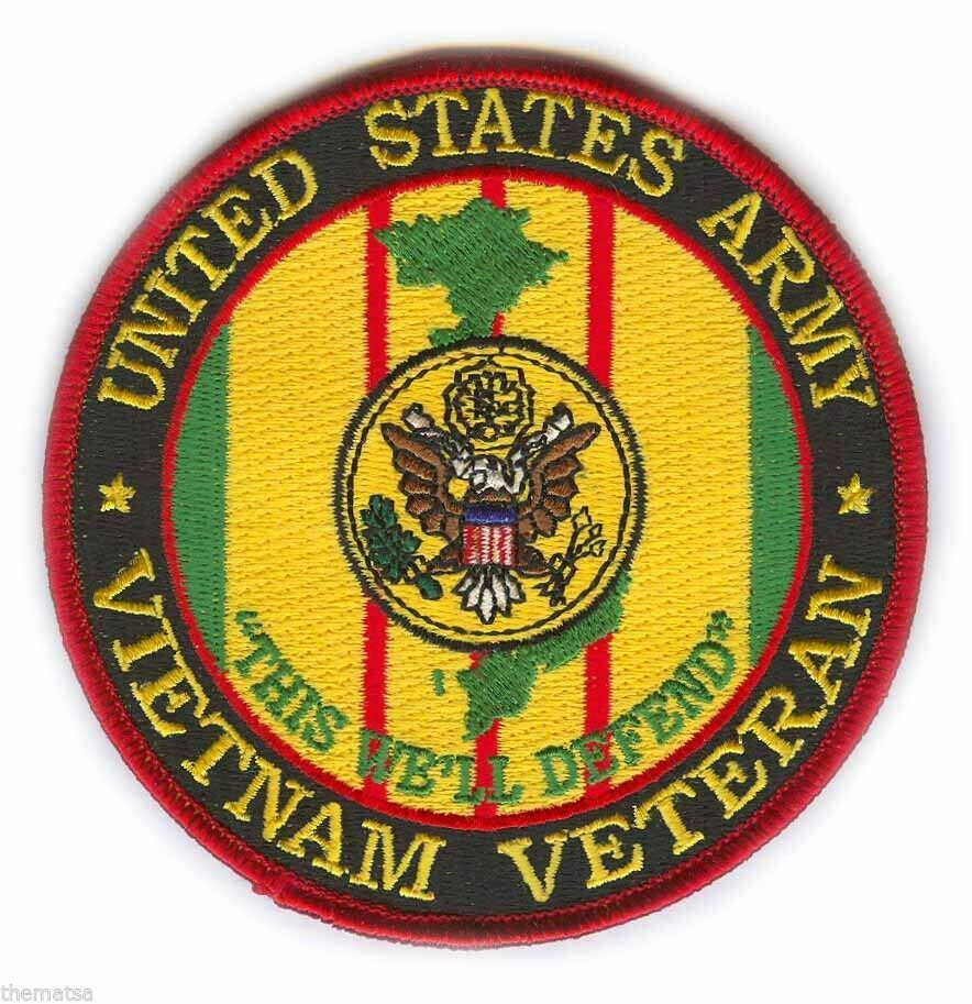 "ARMY VIETNAM WAR VETERAN  4"" EMBROIDERED MILITARY RIBBON  PATCH"