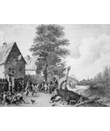 FESTIVAL in Holland - 1876 ETCHING Print after Painting by Teniers - $35.96