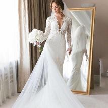 Deep V Neck Full Lace Mermaid Sweep Trumpet Train Bridal Wedding Dress Plus Size