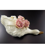 Vintage PORCELAIN FIGURINE Goose w/ Pink Rose Bouquet on Her Back SUPER ... - $9.89