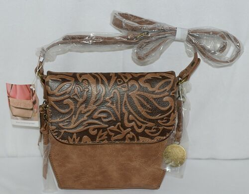 Simply Noelle Brand Tan Brown Color Floral Leaf Pattern Womens Purse