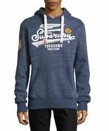 Superdry High Flyers Hoodie Blue Pullover Sweatshirt JPN Cracked Graphic... - $49.45