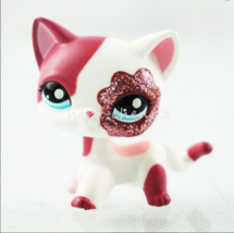 "Littlest Pet Shop LPS 2"" Short Hair Pink Sparkle Glitter Cat Kitty toy - $4.39"