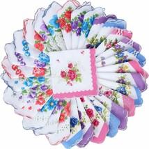 30 Pieces Floral Print Handkerchiefs Vintage Cotton Pocket Hankies for W... - $36.91