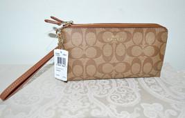NWT $150 COACH Logo Monogram Wristlet Tan Leath... - $105.74