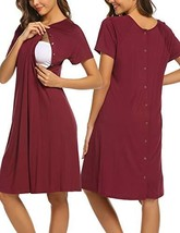 Ekouaer Womens Delivery/Labor/Maternity/Nursing Nightgown Short Sleeve P... - $26.28
