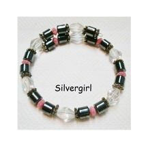 Colorful Handmade Memory Wire Wrap Beaded Bracelet Pink Black Clear - $14.99