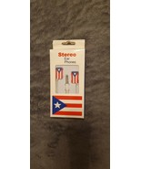 PUERTO RICO NATIONAL FLAG NOVELTY IN-EAR EARBUD HEADPHONES - NEW IN BOX - $9.99