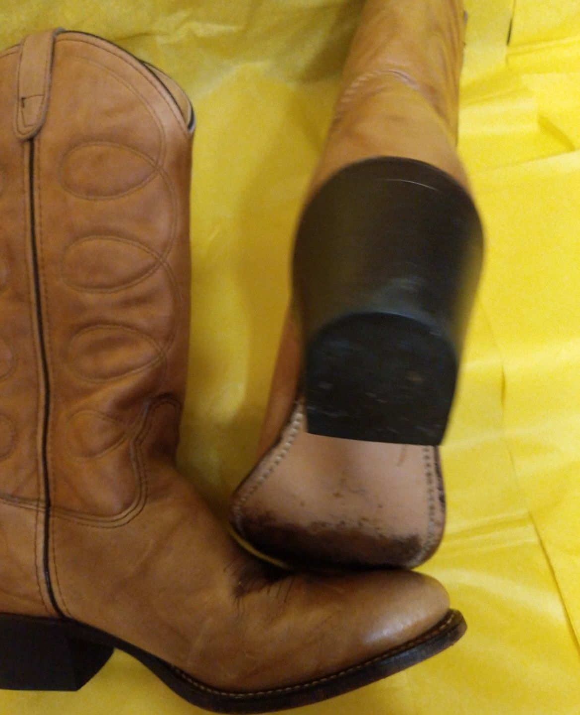 16bfb38a8bd Ladies H & H Lght Brown Leather Cowboy Boots and 50 similar items
