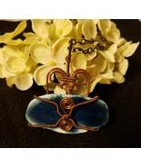 Copper Wired Blue Agate  - $20.00