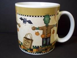 Debbie Mumm HALLOWEEN coffee mug Monster Scarecrow Sakura Stoneware 1998 12 oz - $8.56